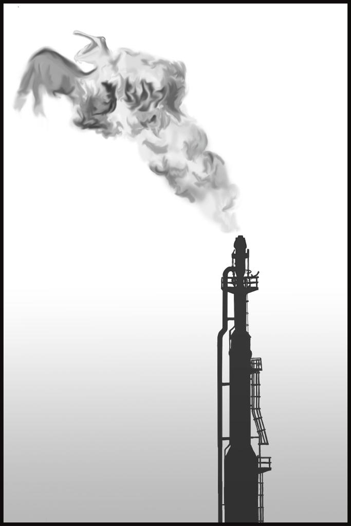 Illustration sur les projets d'exploration pétrolière sur l'île d'Anticosti, au Québec. Parue dans la revue À Bâbord!, 2014.